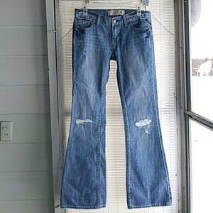 VS PINK distressed boot cut jeans cute!